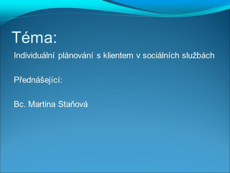Téma: Individuální plánování s klientem v sociálních službách Přednášející: Bc. Martina Staňová