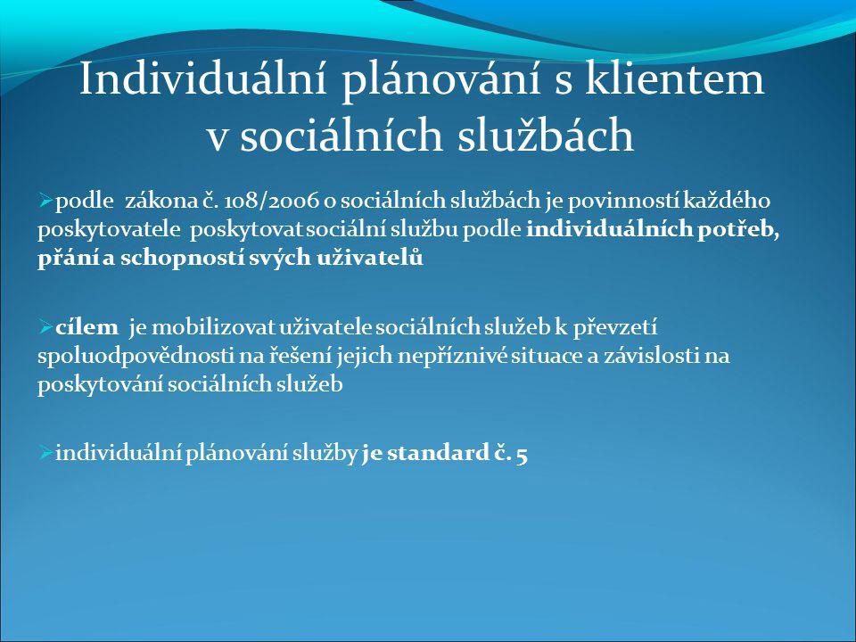  podle zákona č. 108/2006 o sociálních službách je povinností každého poskytovatele poskytovat sociální službu podle individuálních potřeb, přání a s