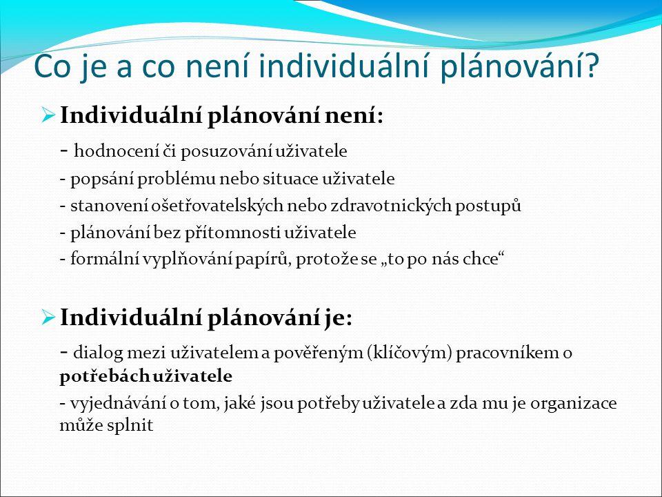 Co je a co není individuální plánování?  Individuální plánování není: - hodnocení či posuzování uživatele - popsání problému nebo situace uživatele -