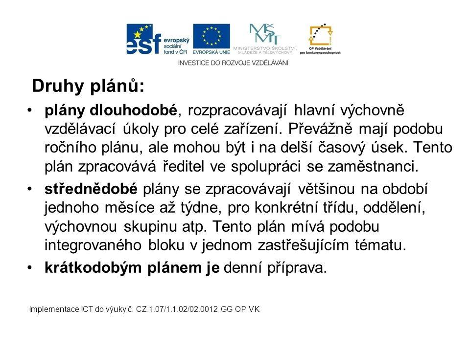 Druhy plánů: plány dlouhodobé, rozpracovávají hlavní výchovně vzdělávací úkoly pro celé zařízení.