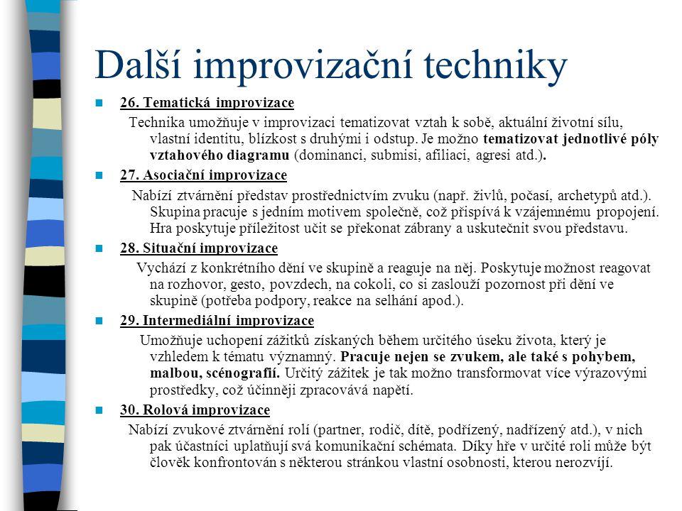 Další improvizační techniky 26. Tematická improvizace Technika umožňuje v improvizaci tematizovat vztah k sobě, aktuální životní sílu, vlastní identit