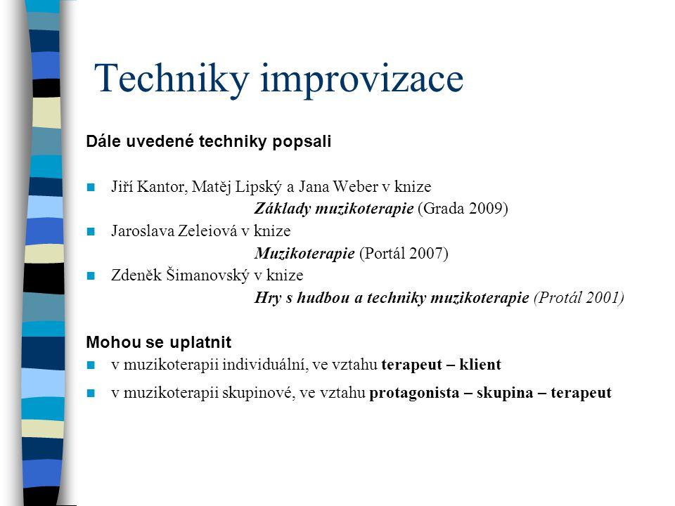 Techniky improvizace Dále uvedené techniky popsali Jiří Kantor, Matěj Lipský a Jana Weber v knize Základy muzikoterapie (Grada 2009) Jaroslava Zeleiov