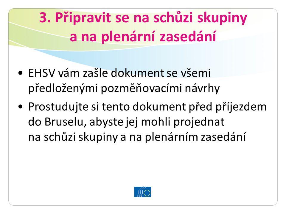 3. Připravit se na schůzi skupiny a na plenární zasedání EHSV vám zašle dokument se všemi předloženými pozměňovacími návrhy Prostudujte si tento dokum