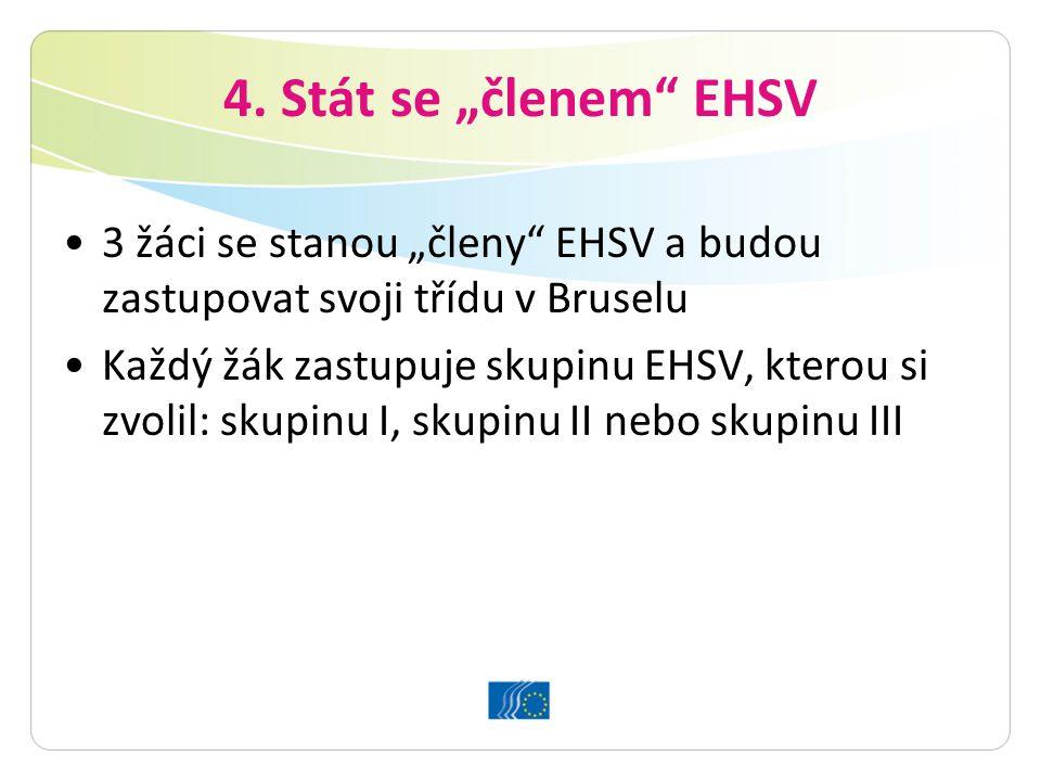 """4. Stát se """"členem"""" EHSV 3 žáci se stanou """"členy"""" EHSV a budou zastupovat svoji třídu v Bruselu Každý žák zastupuje skupinu EHSV, kterou si zvolil: sk"""