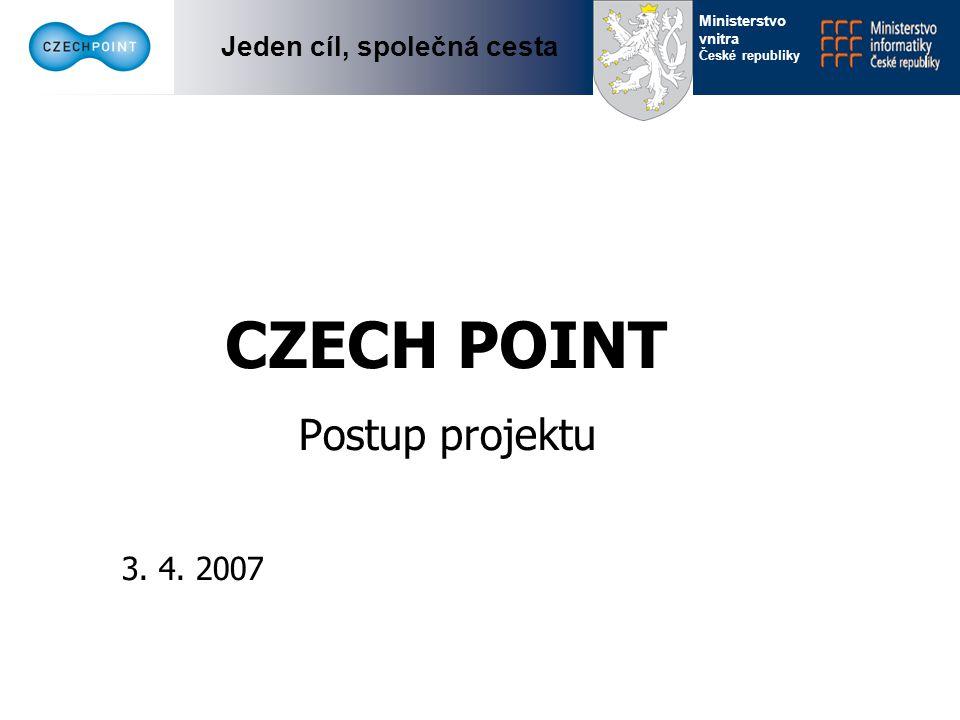 Jeden cíl, společná cesta Ministerstvo vnitra České republiky CZECH POINT asistované místo pro komunikaci občana s veřejnou správou Koncepce projektu se snaží soustředit na jedno místo agendy, které vyžadují práci s písemnými dokumenty Pomocí jednotného formulářového rozhraní se sjednocuje přístup k různým registrům do jednoho stylu