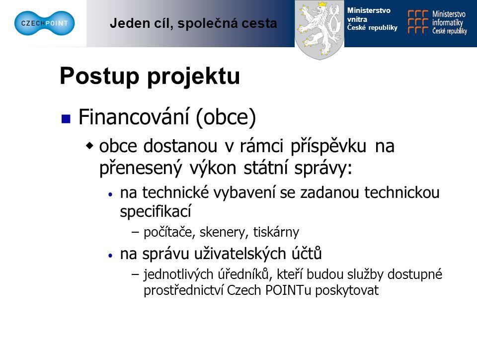 Jeden cíl, společná cesta Ministerstvo vnitra České republiky Postup projektu Financování (centrum)  centrum zajistí: potřebné softwareové vybavení podporu z centra (help desk) školení harmonizaci s připravovanou legislativou