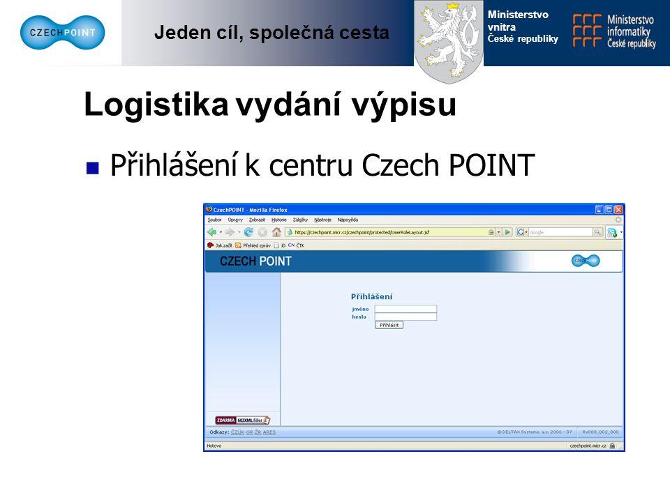 Jeden cíl, společná cesta Ministerstvo vnitra České republiky Logistika vydání výpisu Výběr formuláře