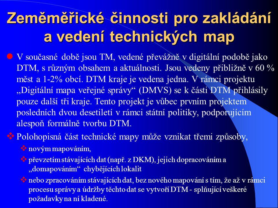 Zeměměřické činnosti pro zakládání a vedení technických map V současné době jsou TM, vedené převážně v digitální podobě jako DTM, s různým obsahem a a