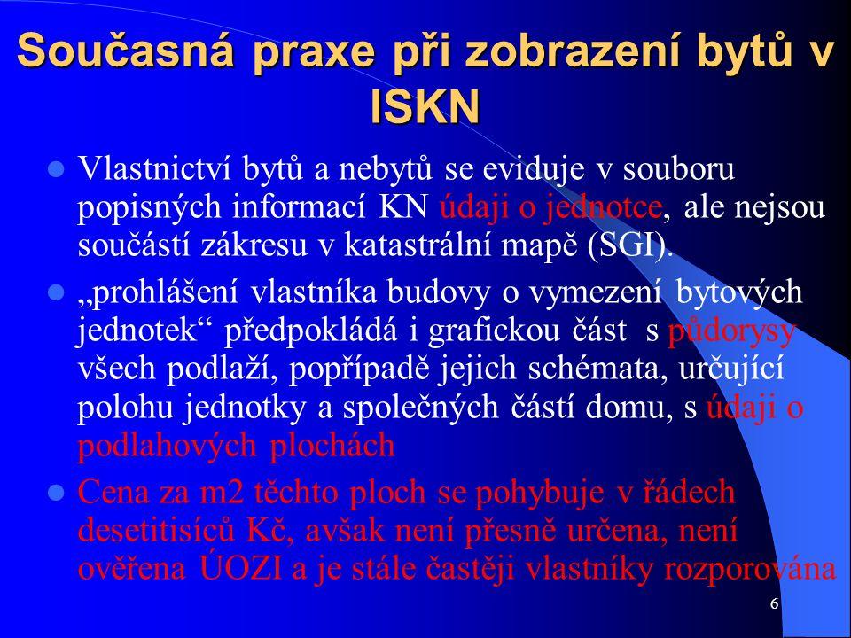 6 Současná praxe při zobrazení bytů v ISKN Vlastnictví bytů a nebytů se eviduje v souboru popisných informací KN údaji o jednotce, ale nejsou součástí