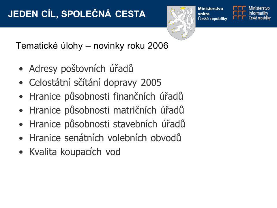 JEDEN CÍL, SPOLEČNÁ CESTA Ministerstvo vnitra České republiky Adresy poštovních úřadů Celostátní sčítání dopravy 2005 Hranice působnosti finančních úř