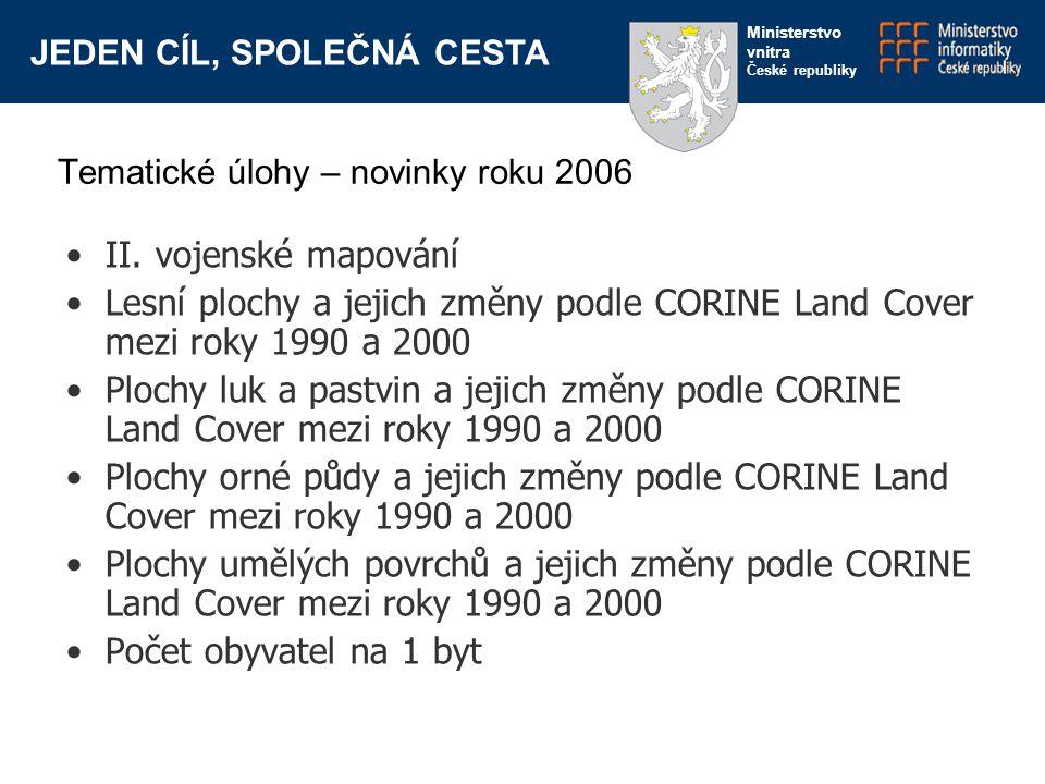 JEDEN CÍL, SPOLEČNÁ CESTA Ministerstvo vnitra České republiky II. vojenské mapování Lesní plochy a jejich změny podle CORINE Land Cover mezi roky 1990