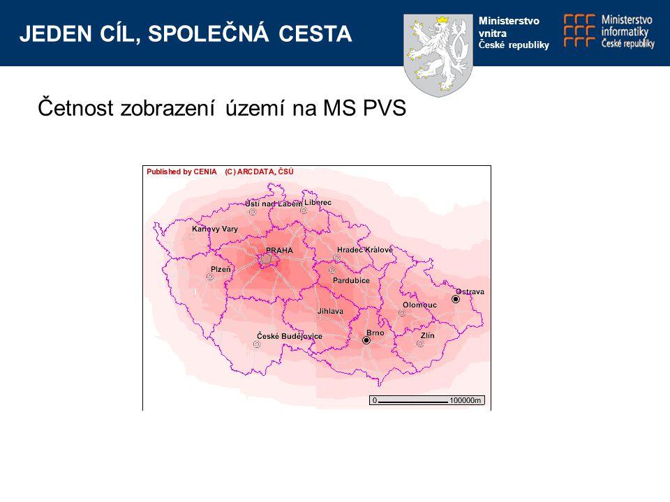 JEDEN CÍL, SPOLEČNÁ CESTA Ministerstvo vnitra České republiky Četnost zobrazení území na MS PVS