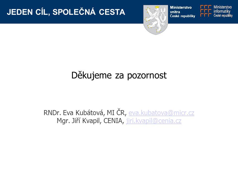 JEDEN CÍL, SPOLEČNÁ CESTA Ministerstvo vnitra České republiky Děkujeme za pozornost RNDr. Eva Kubátová, MI ČR, eva.kubatova@micr.czeva.kubatova@micr.c