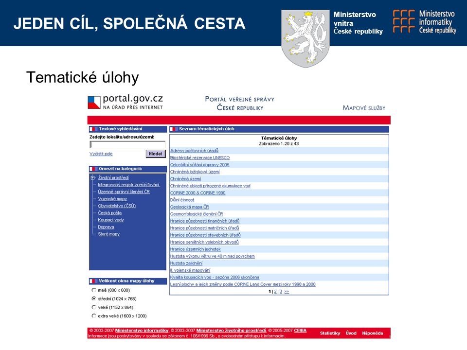 JEDEN CÍL, SPOLEČNÁ CESTA Ministerstvo vnitra České republiky Tematické úlohy