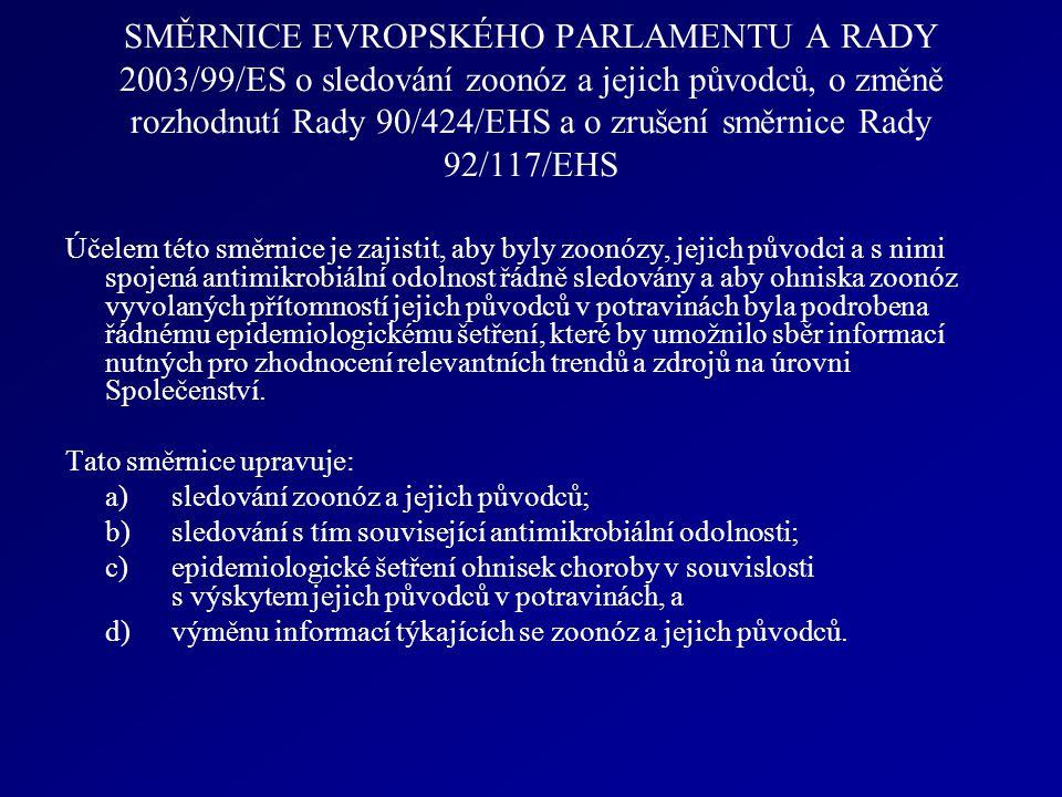 SMĚRNICE EVROPSKÉHO PARLAMENTU A RADY 2003/99/ES o sledování zoonóz a jejich původců, o změně rozhodnutí Rady 90/424/EHS a o zrušení směrnice Rady 92/