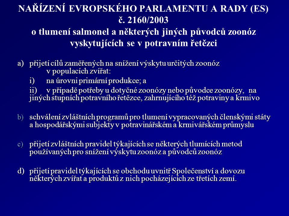 NAŘÍZENÍ EVROPSKÉHO PARLAMENTU A RADY (ES) č. 2160/2003 o tlumení salmonel a některých jiných původců zoonóz vyskytujících se v potravním řetězci a)př
