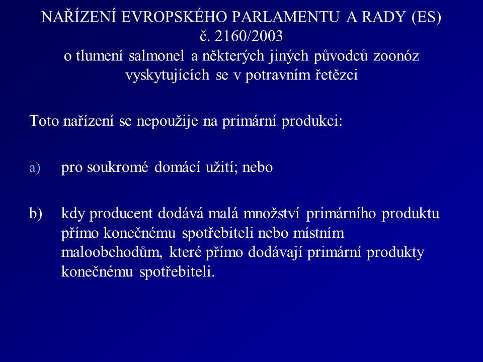 NAŘÍZENÍ EVROPSKÉHO PARLAMENTU A RADY (ES) č. 2160/2003 o tlumení salmonel a některých jiných původců zoonóz vyskytujících se v potravním řetězci Toto