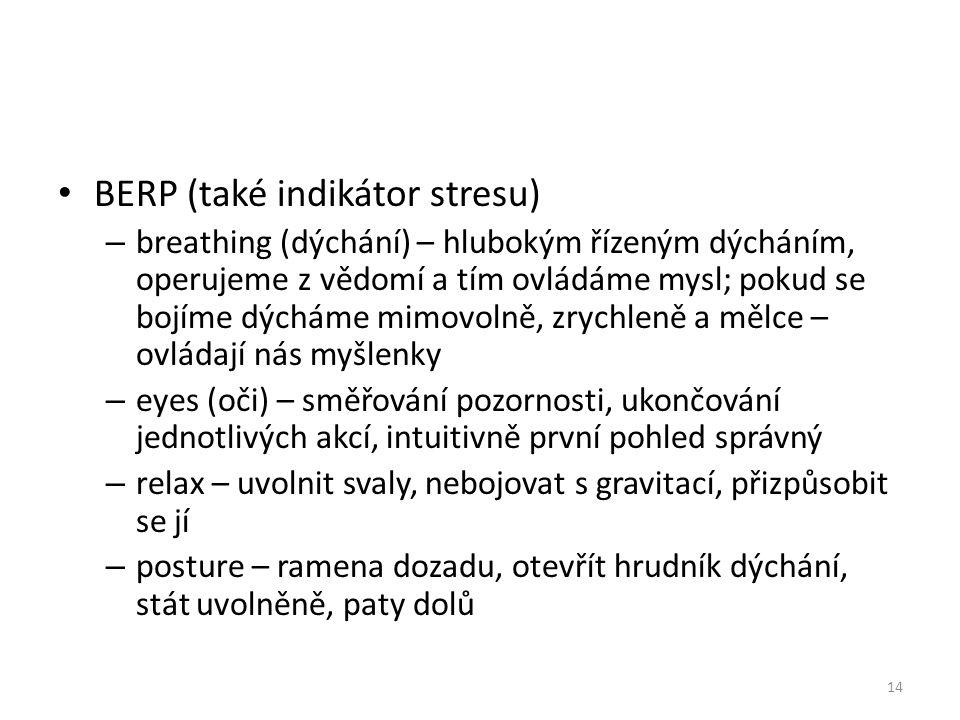 BERP (také indikátor stresu) – breathing (dýchání) – hlubokým řízeným dýcháním, operujeme z vědomí a tím ovládáme mysl; pokud se bojíme dýcháme mimovo