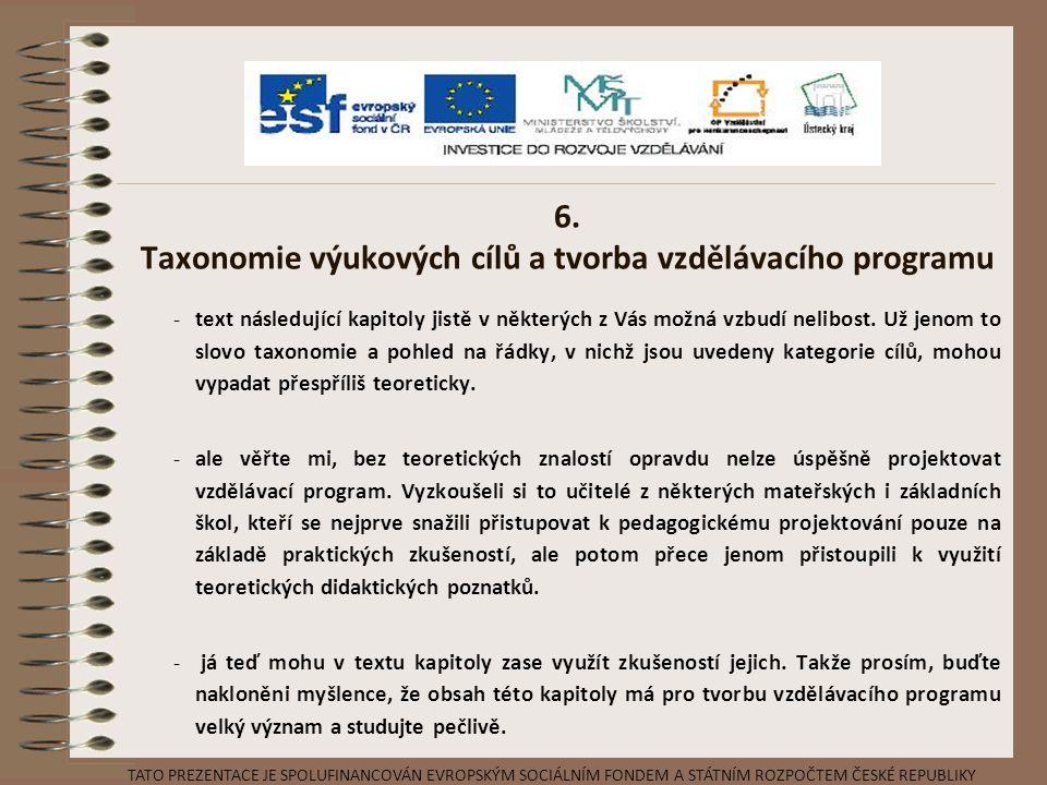 6. Taxonomie výukových cílů a tvorba vzdělávacího programu -text následující kapitoly jistě v některých z Vás možná vzbudí nelibost. Už jenom to slovo