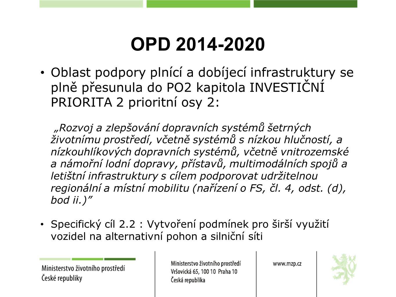 """OPD 2014-2020 Oblast podpory plnící a dobíjecí infrastruktury se plně přesunula do PO2 kapitola INVESTIČNÍ PRIORITA 2 prioritní osy 2: """"Rozvoj a zlepš"""