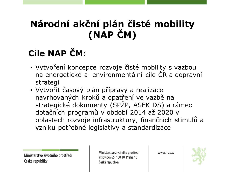 Národní akční plán čisté mobility (NAP ČM) Cíle NAP ČM: Vytvoření koncepce rozvoje čisté mobility s vazbou na energetické a environmentální cíle ČR a