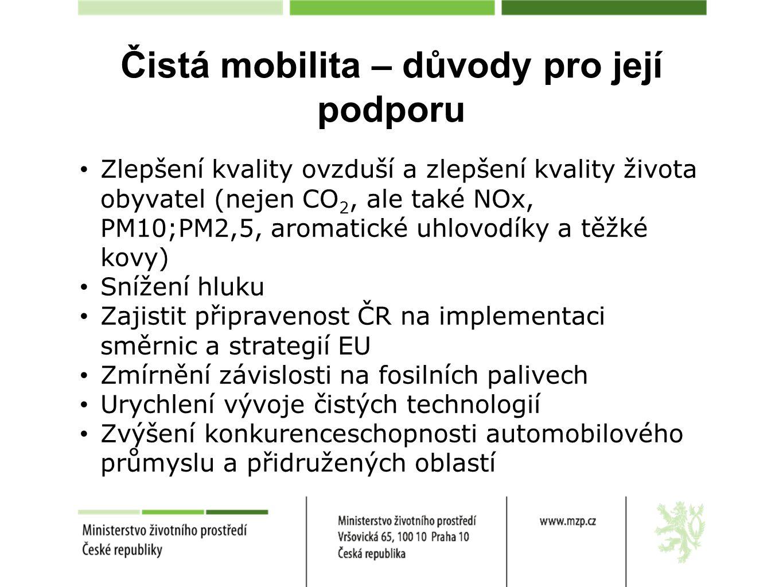 Čistá mobilita v základních strategických dokumentech EU Strategie Evropa 2020 (2010) Rozvoj čisté mobility významně přispívá k naplňování priorit strategie Evropa 2020 (konkurenceschopnost, udržitelný růst) Cílem je podpora nových technologií za účelem modernizace dopravy, snížení produkce uhlíku v tomto odvětví a zvýšení konkurenceschopnosti.