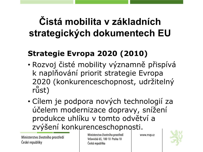 """Čistá mobilita v základních strategických dokumentech EU Bílá kniha o nové dopravní politice EU (2011) Snížit emise skleníkových plynů do roku 2050 o 60 % Snížit používání """"konvenčně poháněných automobilů v městské dopravě do roku 2030 na polovinu; postupně je vyřadit z provozu ve městech do roku 2050 Dosáhnout do roku 2030 ve velkých městech zavedení městské logistiky v podstatě bez obsahu CO 2"""