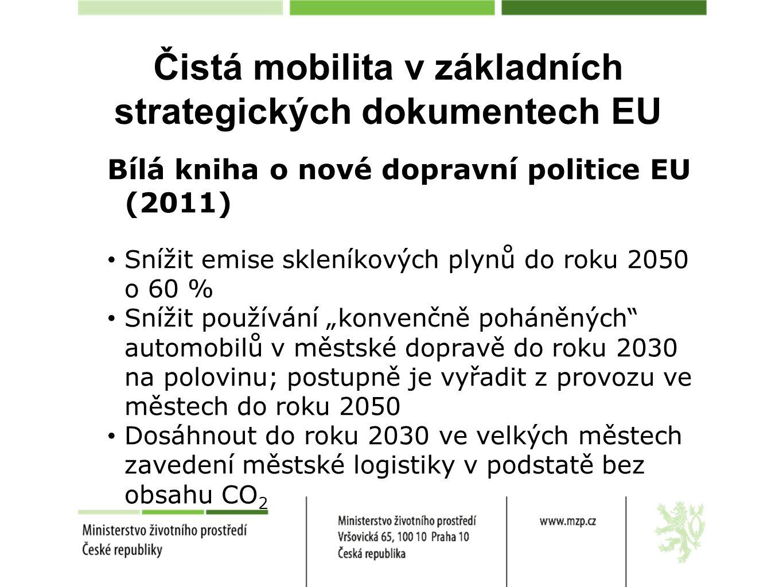 Čistá mobilita v základních strategických dokumentech EU Návrh směrnice EP a Rady o zavádění infrastruktury pro alternativní paliva Harmonizace standardů pro jednotlivé typy dobíjecích /plnících stanic Požadavky na zavádění infrastruktury pro jednotlivé typy dobíjecích/plnících stanic Požadavek na vytvoření národního rámce (strategie) čisté mobility (NAP ČR)
