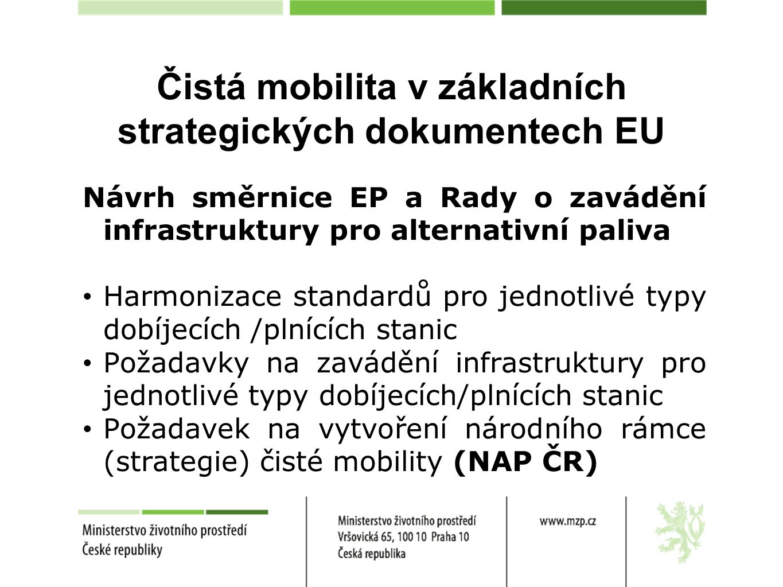 Čistá mobilita v základních strategických dokumentech EU Návrh směrnice EP a Rady o zavádění infrastruktury pro alternativní paliva Harmonizace standa