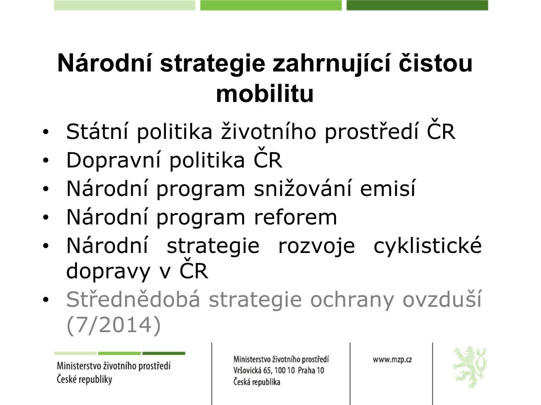 Národní akční plán čisté mobility (NAP ČM) Zřízeny 3 pracovní skupiny: 1) Elektromobilita 2) Plyn 3) Legislativa Termín: Do konce roku 2014 předložit NAP ČM na ÚV