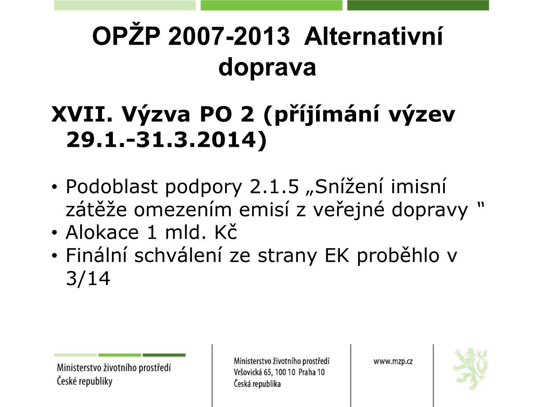 """OPŽP 2007-2013 Alternativní doprava XVII. Výzva PO 2 (příjímání výzev 29.1.-31.3.2014) Podoblast podpory 2.1.5 """"Snížení imisní zátěže omezením emisí z"""