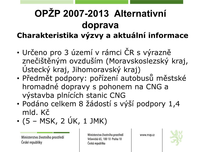 OPŽP 2007-2013 Alternativní doprava Charakteristika výzvy a aktuální informace Určeno pro 3 území v rámci ČR s výrazně znečištěným ovzduším (Moravskos