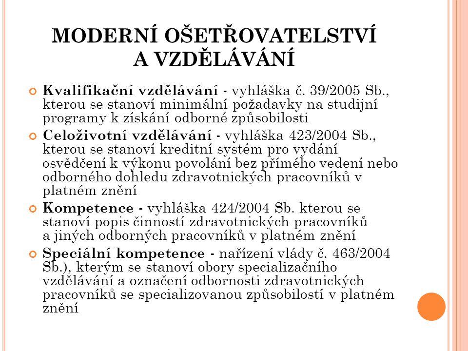 MODERNÍ OŠETŘOVATELSTVÍ A VZDĚLÁVÁNÍ Kvalifikační vzdělávání - vyhláška č. 39/2005 Sb., kterou se stanoví minimální požadavky na studijní programy k z