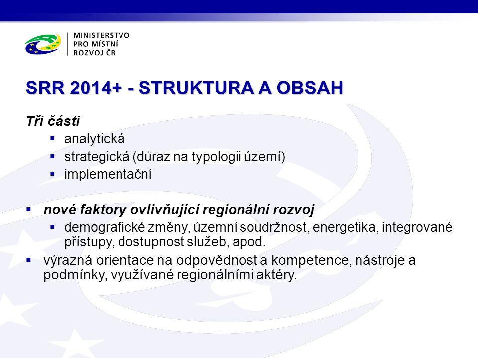 SRR 2014+ - STRUKTURA A OBSAH Tři části  analytická  strategická (důraz na typologii území)  implementační  nové faktory ovlivňující regionální rozvoj  demografické změny, územní soudržnost, energetika, integrované přístupy, dostupnost služeb, apod.