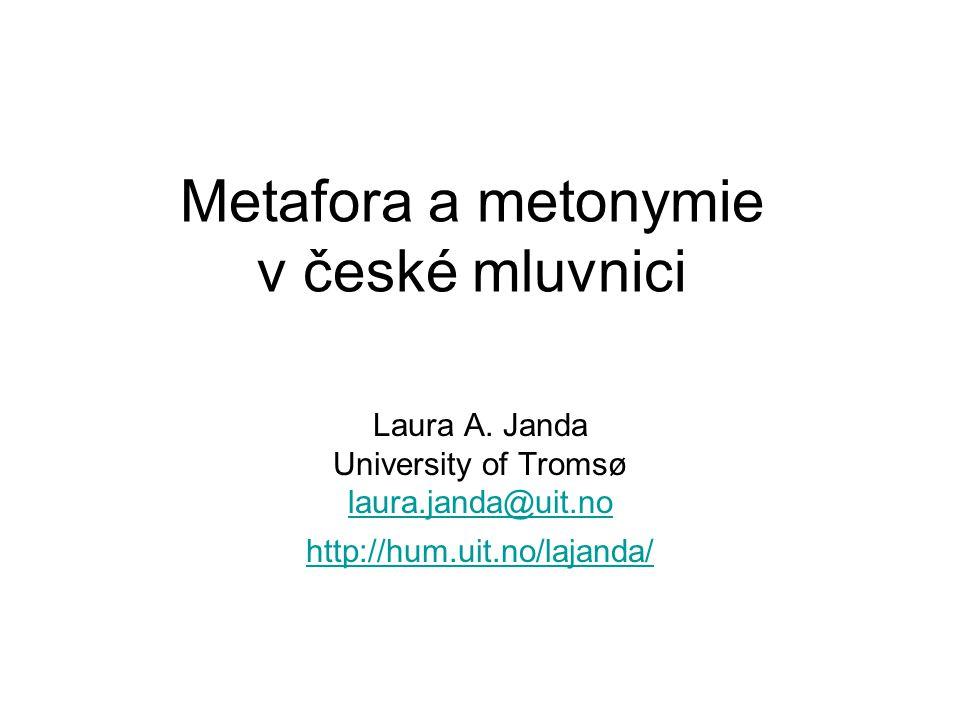 Jakobson [1956] 1980 The metaphoric and metonymic poles Metafora -- podobnost Metonymie -- styk Obě jsou důležité v mluvnici