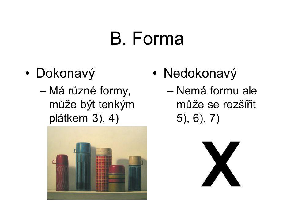 B. Forma Dokonavý –Má různé formy, může být tenkým plátkem 3), 4) Nedokonavý –Nemá formu ale může se rozšířit 5), 6), 7)