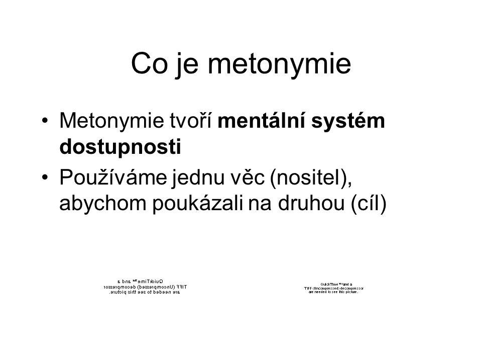 Co je metonymie Metonymie tvoří mentální systém dostupnosti Používáme jednu věc (nositel), abychom poukázali na druhou (cíl)