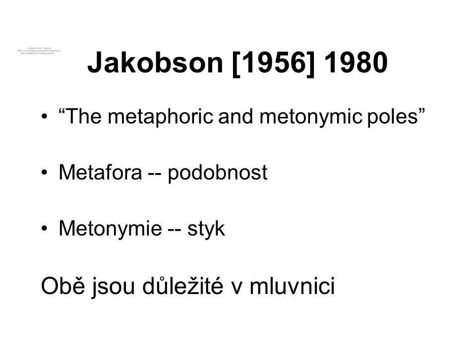 """Jakobson [1956] 1980 """"The metaphoric and metonymic poles"""" Metafora -- podobnost Metonymie -- styk Obě jsou důležité v mluvnici"""