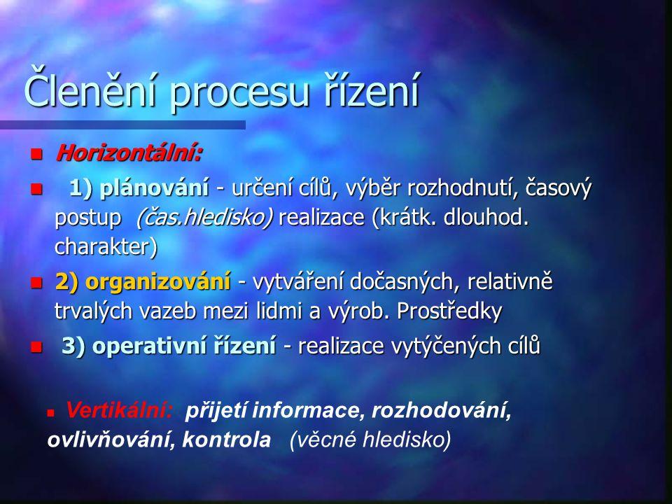 Členění procesu řízení Horizontální: Horizontální: 1) plánování - určení cílů, výběr rozhodnutí, časový postup (čas.hledisko) realizace (krátk. dlouho