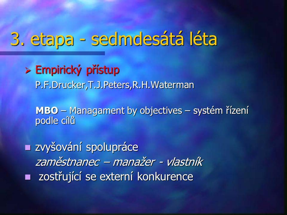 3. etapa - sedmdesátá léta  Empirický přístup P.F.Drucker,T.J.Peters,R.H.Waterman MBO – Managament by objectives – systém řízení podle cílů MBO – Man