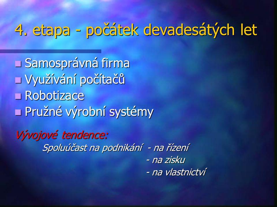 4. etapa - počátek devadesátých let 4. etapa - počátek devadesátých let Samosprávná firma Samosprávná firma Využívání počítačů Využívání počítačů Robo