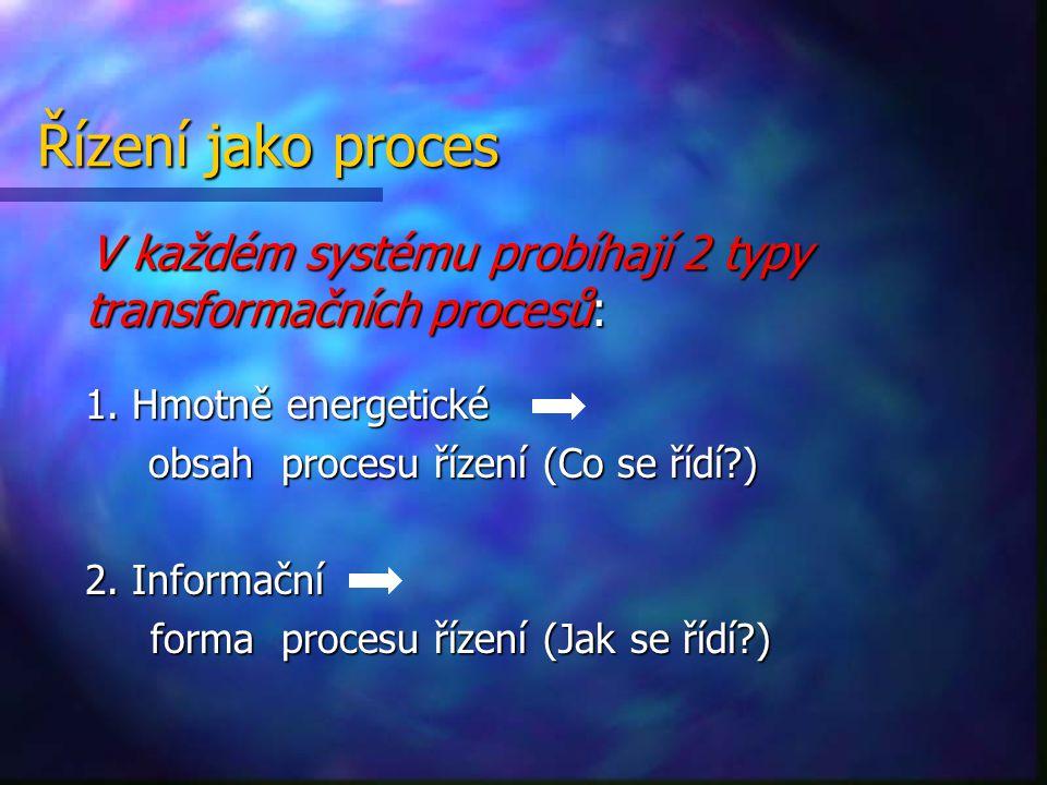 Řízení jako proces V každém systému probíhají 2 typy transformačních procesů: V každém systému probíhají 2 typy transformačních procesů: 1. Hmotně ene