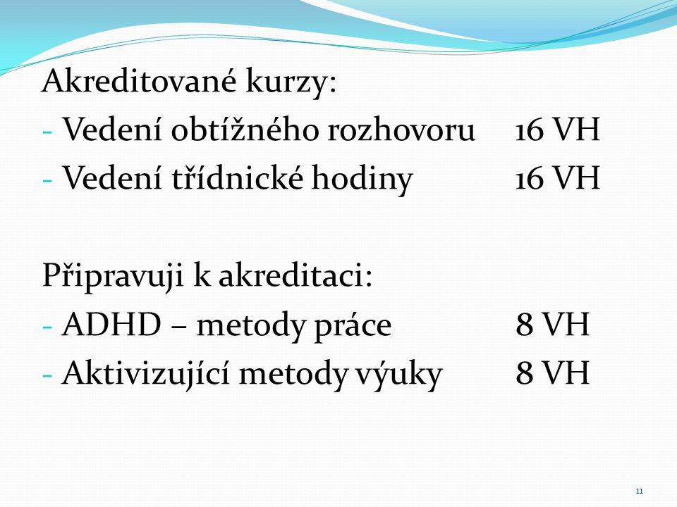 Akreditované kurzy: - Vedení obtížného rozhovoru16 VH - Vedení třídnické hodiny16 VH Připravuji k akreditaci: - ADHD – metody práce8 VH - Aktivizující