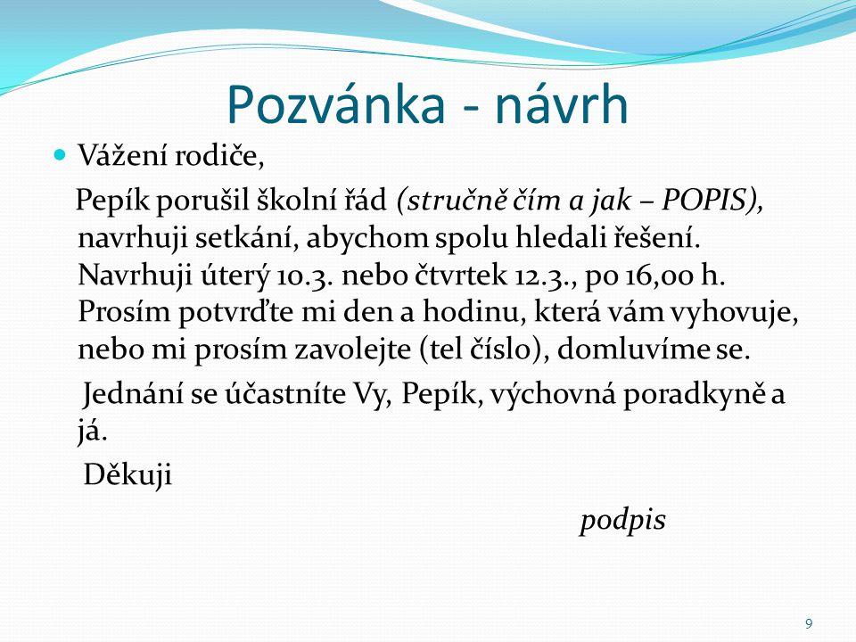 Pozvánka - návrh Vážení rodiče, Pepík porušil školní řád (stručně čím a jak – POPIS), navrhuji setkání, abychom spolu hledali řešení. Navrhuji úterý 1