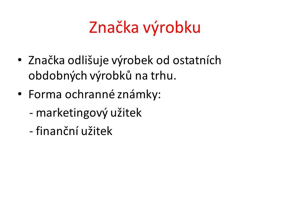 Značka výrobku Značka odlišuje výrobek od ostatních obdobných výrobků na trhu.