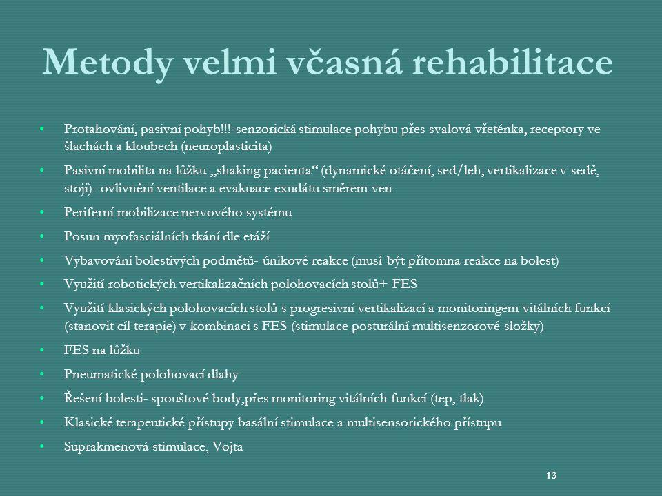 13 Metody velmi včasná rehabilitace Protahování, pasivní pohyb!!!-senzorická stimulace pohybu přes svalová vřeténka, receptory ve šlachách a kloubech