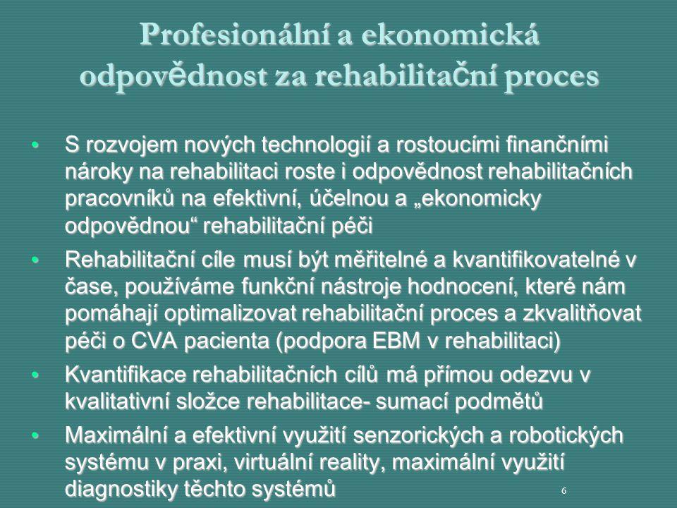 Profesionální a ekonomická odpov ě dnost za rehabilita č ní proces S rozvojem nových technologií a rostoucími finančními nároky na rehabilitaci roste