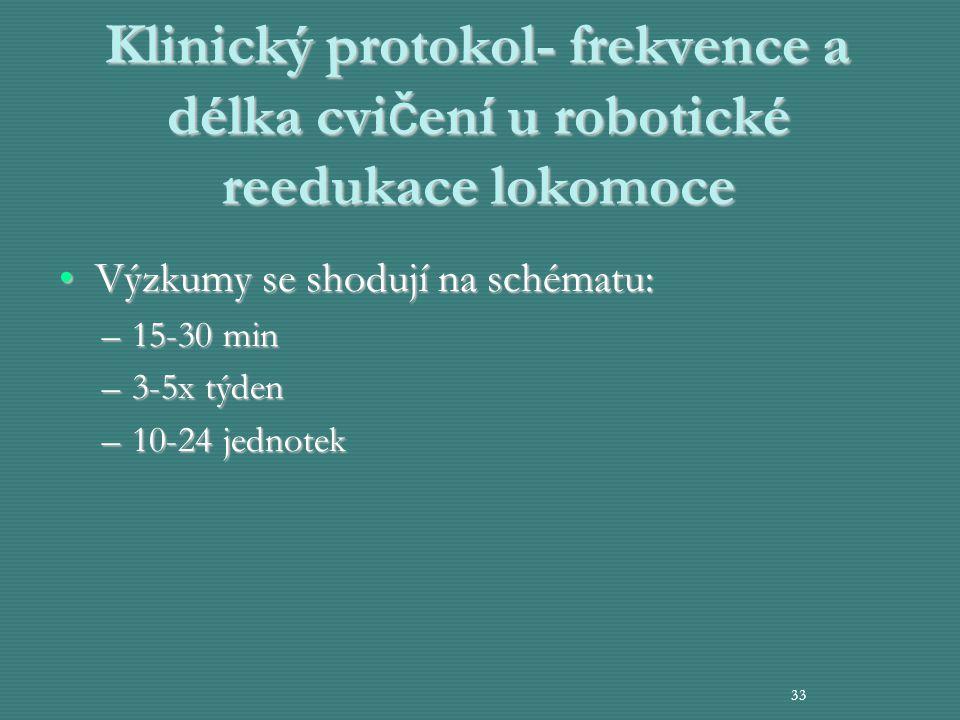 Klinický protokol- frekvence a délka cvi č ení u robotické reedukace lokomoce Výzkumy se shodují na schématu:Výzkumy se shodují na schématu: –15-30 mi