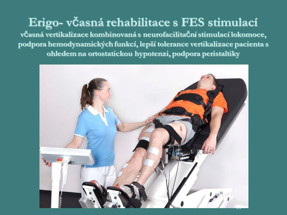 Erigo- v č asná rehabilitace s FES stimulací v č asná vertikalizace kombinovaná s neurofacilita č ní stimulací lokomoce, podpora hemodynamických funkc