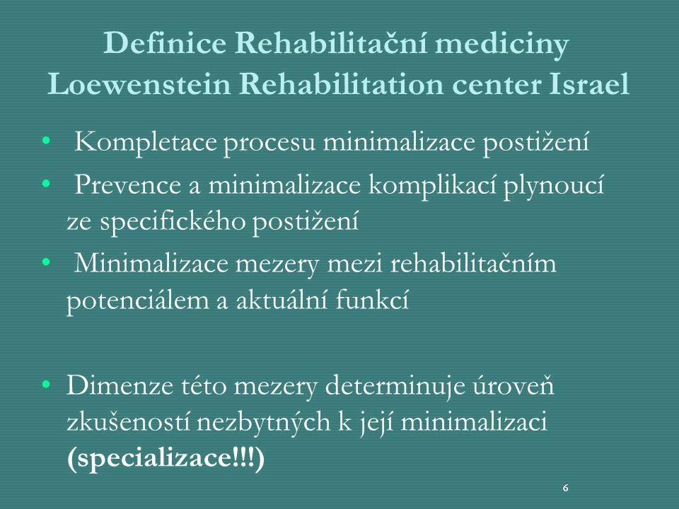 6 Definice Rehabilitační mediciny Loewenstein Rehabilitation center Israel Kompletace procesu minimalizace postižení Prevence a minimalizace komplikac